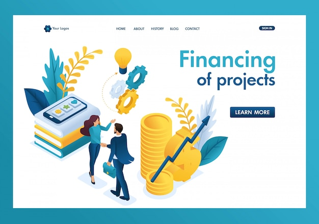 Isometrische zakelijke financiële samenwerking tussen de investeerder en het creatieve team