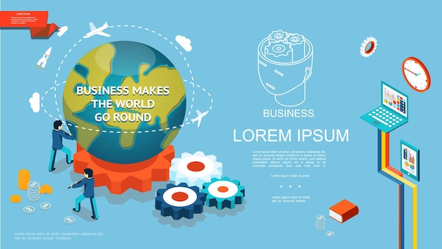 Isometrische zakelijke kleurrijke sjabloon met zakenlieden draaien planeet aarde op vistuig munten tablet laptop boek klok illustratie