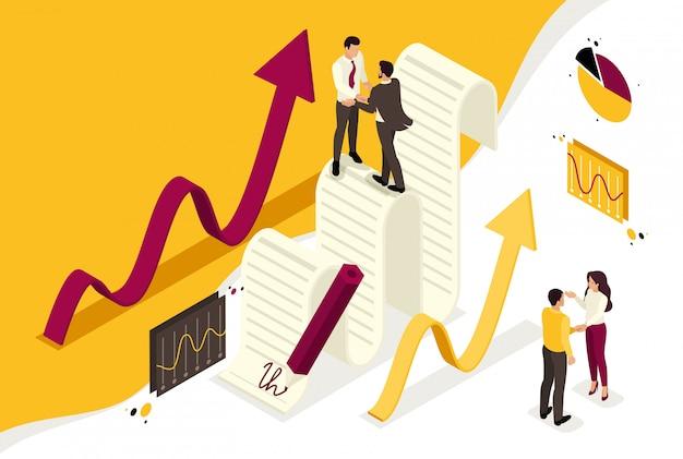 Isometrische zakelijke overeenkomstpartners, omzetgroei-schema's. concept voor webdesign