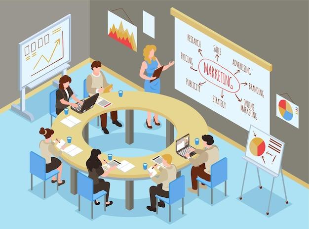 Isometrische zakelijke trainingshal-samenstelling met binnenkantoortjes en een groep mensen die marketingvaardigheden leren