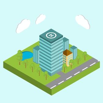 Isometrische zakencentra in het stadscentrum