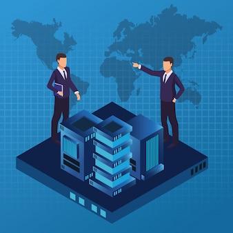 Isometrische zakenlieden en technologie