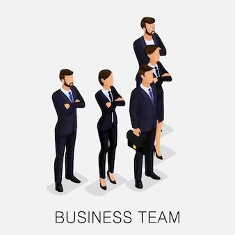 Isometrische zakenlieden, mannen en vrouwen in pakken
