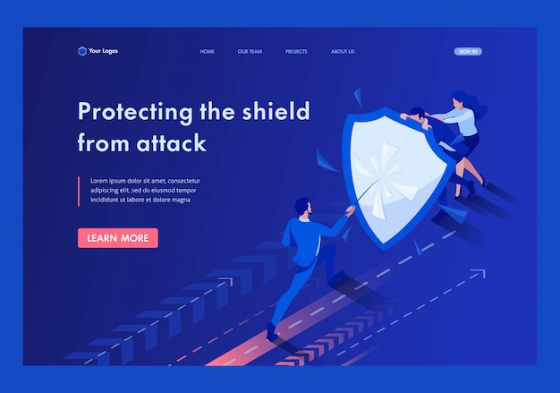 Isometrische zakenlieden verstoppen zich achter een schild tegen aanvallen