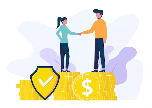 Isometrische zakenlieden verzekeren hun activa, investeringen en aandelen, schild.