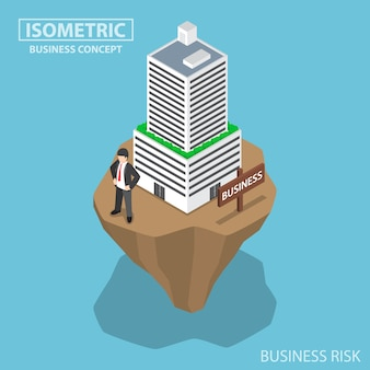 Isometrische zakenman bouwt bedrijf voort op onstabiel land, bedrijfs- en investeringsrisicoconcept