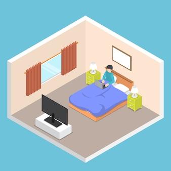 Isometrische zakenman die aan zijn laptop op het bed werkt Premium Vector