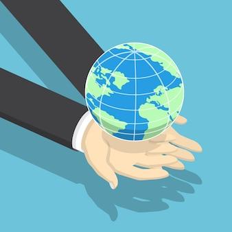 Isometrische zakenman die aarde bol op zijn handen