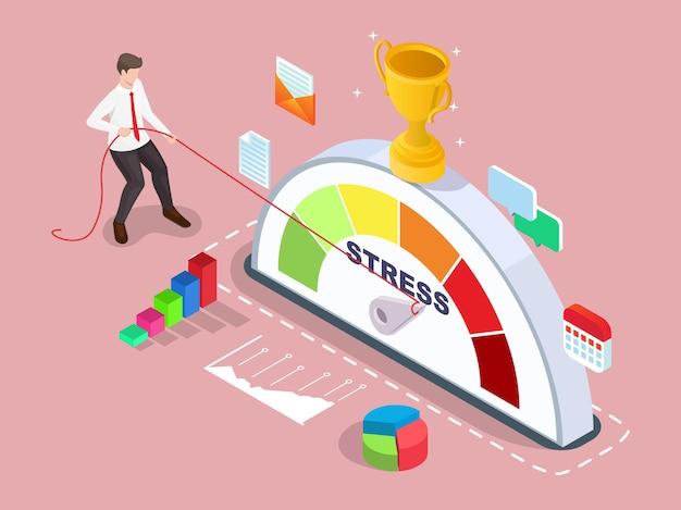 Isometrische zakenman die de pijl van de stemmingsmeter terugdraait met touw vector illustratie werkstress en emo...