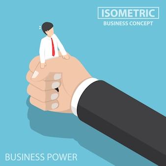 Isometrische zakenman die door een grote hand wordt gedrukt