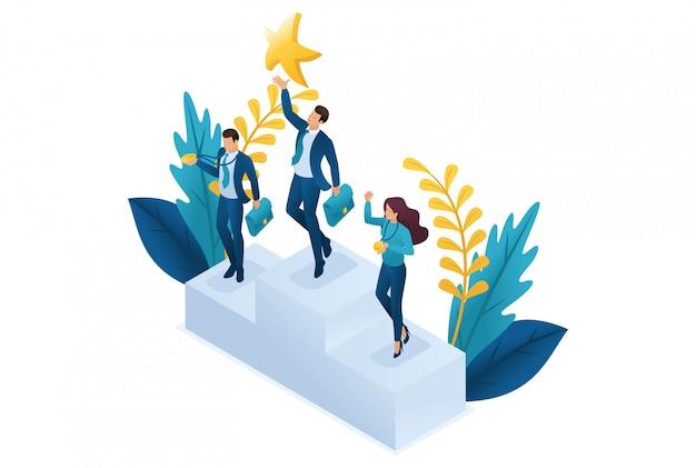 Isometrische zakenman die naar een droom reikt, doelstellingen bereikt, succes wint.