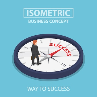 Isometrische zakenman die zich op kompas bevindt dat op succes wijst