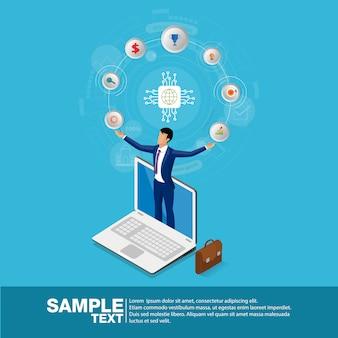 Isometrische zakenman en bedrijfspictogrammen op laptop. concept bedrijfssucces vectorillustratie.
