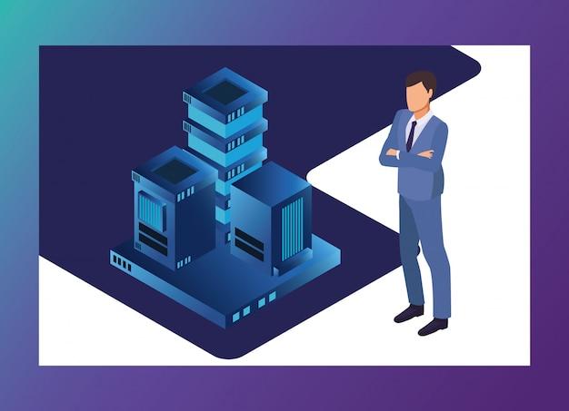 Isometrische zakenman en technologie