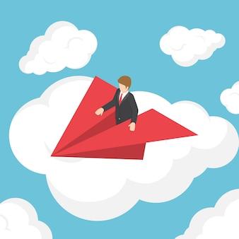 Isometrische zakenman op papieren vliegtuigje boven de wolk