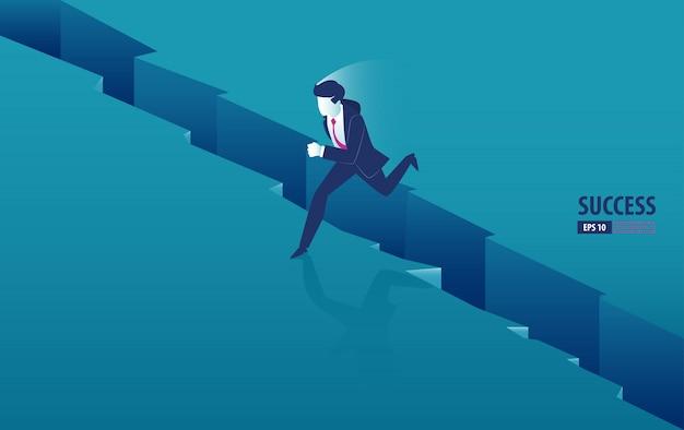 Isometrische zakenman springen over de kloof tussen de kliffen. zakelijke vectorillustratie