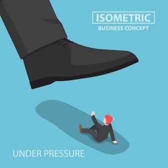 Isometrische zakenman verpletterd door gigantische voet