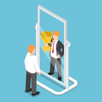 Isometrische zakenman ziet zichzelf succesvol zijn in de spiegel