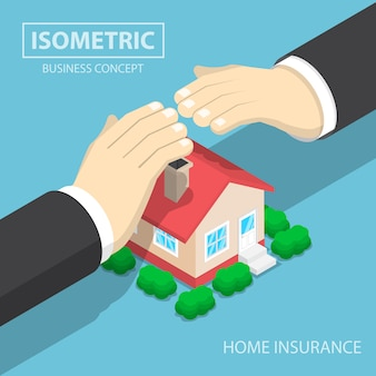 Isometrische zakenmanhanden die het huis beschermen