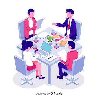 Isometrische zakenmensen in een vergadering