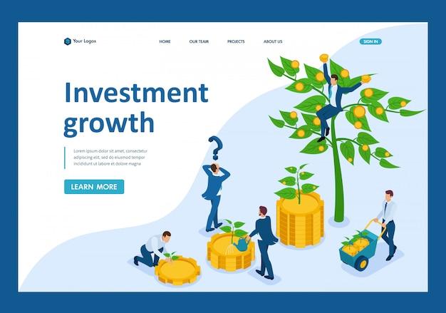 Isometrische zakenmensen investeren geld en helpen hen groeien en winst te maken