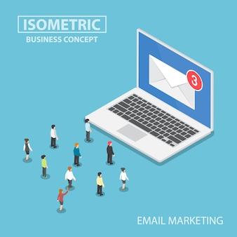 Isometrische zakenmensen op zoek naar nieuwe e-mailmelding op laptopmonitor