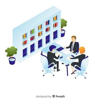 Isometrische zakenmensen praten over het bedrijfsleven