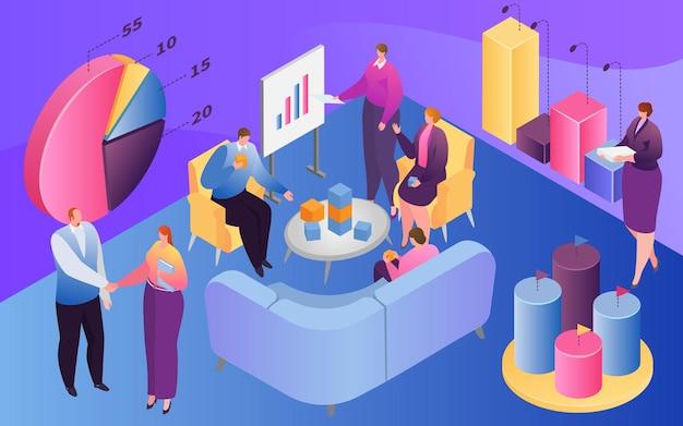 Isometrische zakenmensen teamwork vector illustratie d kleine man vrouw karakter werk met infograp...