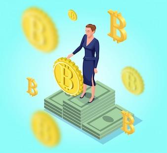 Isometrische zakenvrouw met bitcoin symbo