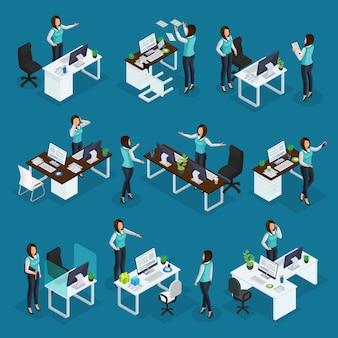Isometrische zakenvrouw op het werk collectie van zakenvrouw met verschillende emoties in verschillende situaties geïsoleerd