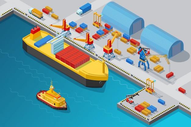 Isometrische zeehaven en doksjabloon