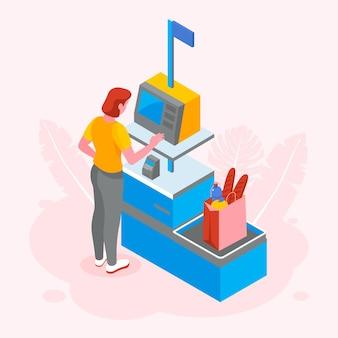Isometrische zelfbediening kassier illustratie