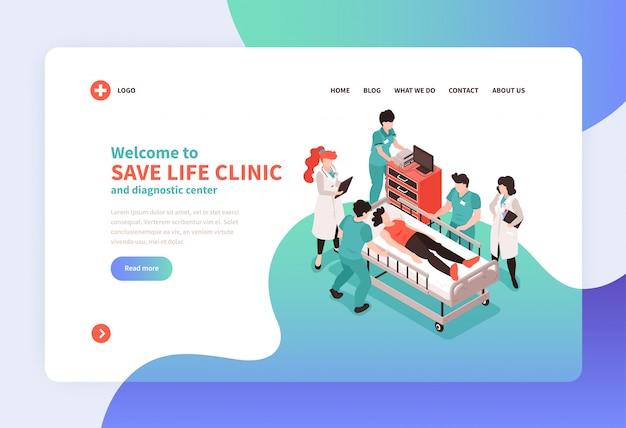 Isometrische ziekenhuis concept bestemmingspagina website pagina-ontwerp met afbeeldingen van medisch personeel links en tekst vectorillustratie