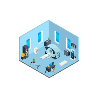 Isometrische ziekenhuis interieur met meubels en medische apparatuur illustratie