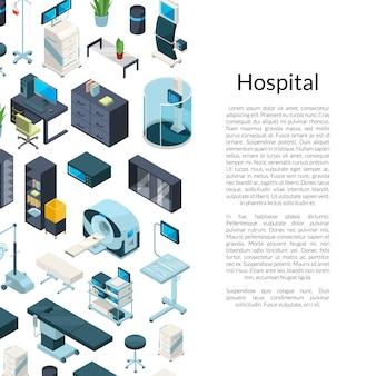 Isometrische ziekenhuis pictogrammen achtergrond met plaats voor tekst