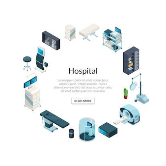 Isometrische ziekenhuis pictogrammen in cirkelvorm