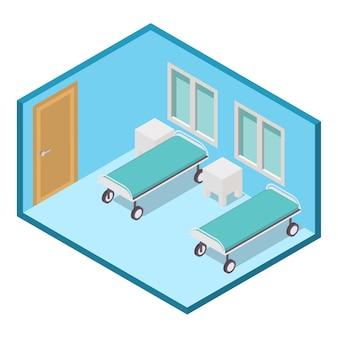 Isometrische ziekenhuisafdeling kliniek kamer interieur.