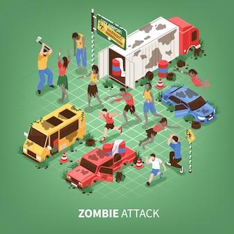 Isometrische zombie-apocalyps
