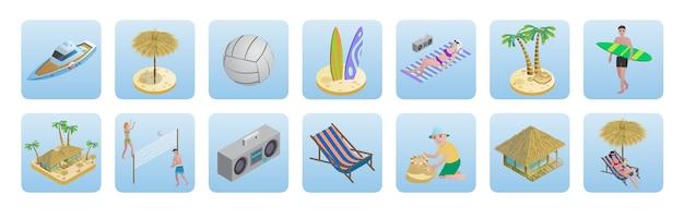 Isometrische zomer strand vakantie pictogrammen instellen
