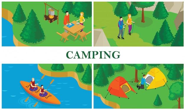 Isometrische zomertoerisme kleurrijke samenstelling met mensen die voedsel koken die tent plaatsen die kajakken doen en wandelen