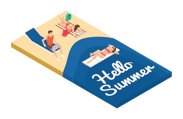 Isometrische zomervakantie op het strand-concept. freelancer en ontspannende mensen aan zee