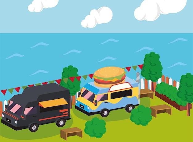 Isometrische zwarte en hamburger-foodtruck