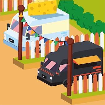 Isometrische zwarte en kaasvoedselvrachtwagen