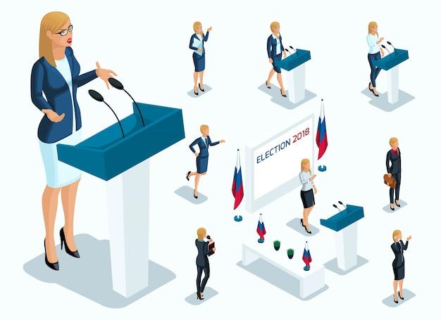 Isometry is een vrouwelijke president, stemmen, verkiezingen, debat. gebaar van kandidaat, slogans van een zakenvrouw, kracht, mooie benen en dure pakken