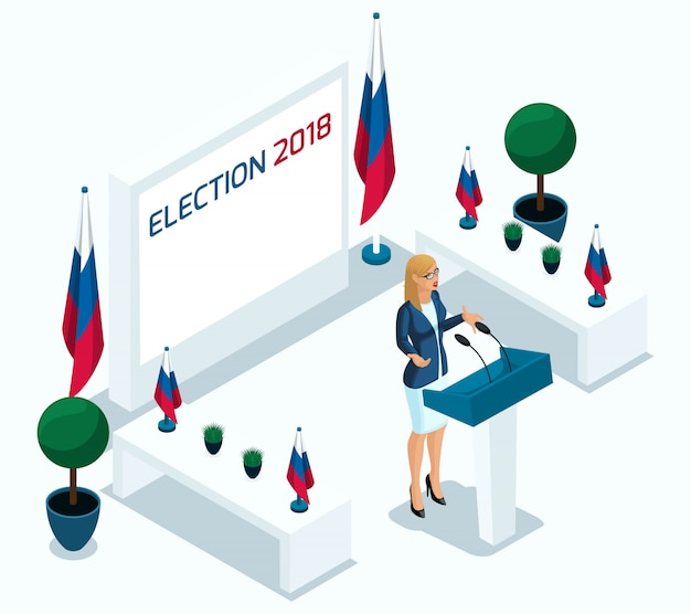 Isometry is een vrouwelijke president, stemmen, verkiezingen, debat. kandidaat, slogans blonde meisje, kracht, prestaties op aanvraag, vlaggen