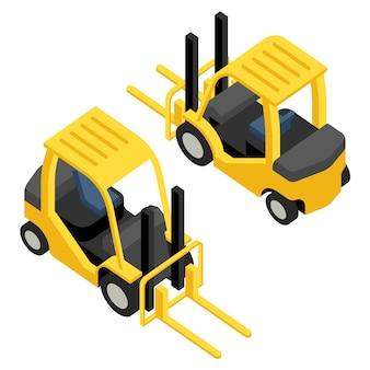 Isometry magazijn vorkheftruck, pictogrammen voor website vorkheftruck, industriële machines