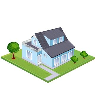 Isometry thuis tegen de achtergrond van groen gazon en bomen