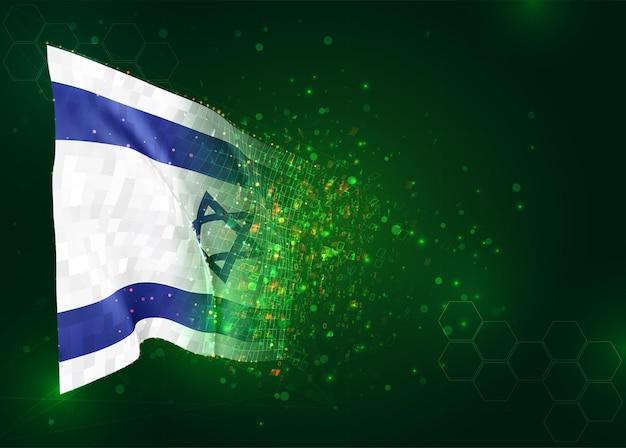 Israël 3d vlag op groene achtergrond met polygonen