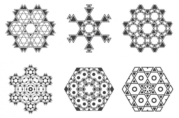 Israel jood etnische fractal mandala ziet eruit als sneeuwvlok of maya azteekse patroon of bloem