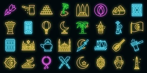 Istanboel pictogrammen instellen. overzicht set van istanbul vector iconen neon kleur op zwart